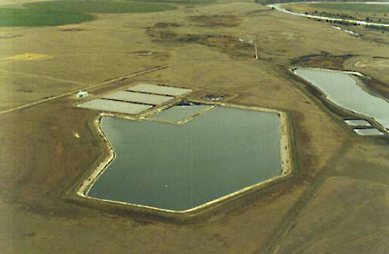 This large PVC-lined pond was fabricated and installed in 1986 in Taber, Alberta, and is still performing well.