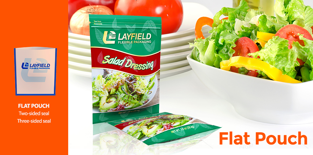 Showing a flat pouch salad packaging three-sided pouch for food packaging