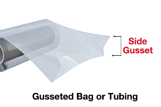 showing side gusset bag tubing for food packaging, industrial packaging or medical packaging
