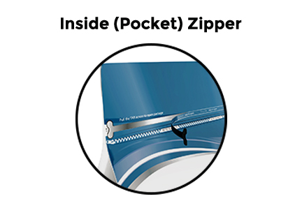 showing flat-bottom bag for food packaging that has an inside zipper or pocket zipper