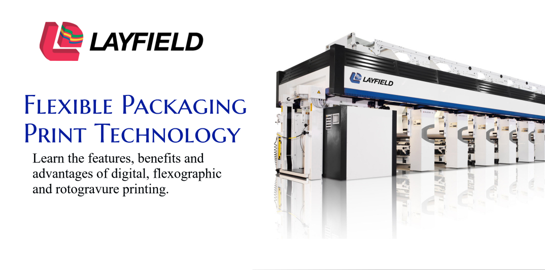 Showing flexible packaging printer for food packaging, salad packaging, coffee packaging, pet food packaging, frozen food packaging.