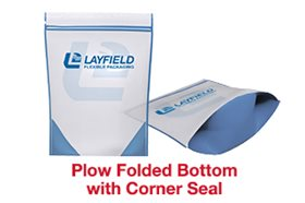 showing flow bottom with corner seal stand up pouch for food packaging